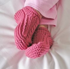Slippers Womens Pink Rose Low Cuff Cabled by knitwit4ever on Etsy (no pattern available)