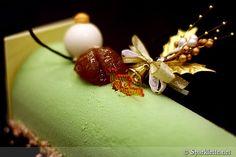 Matcha green tea Christmas log cake