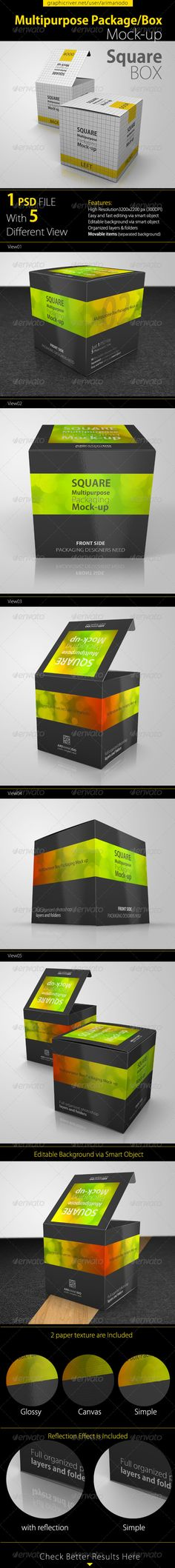 Multipurpose Square Package/Box Mock up  #GraphicRiver