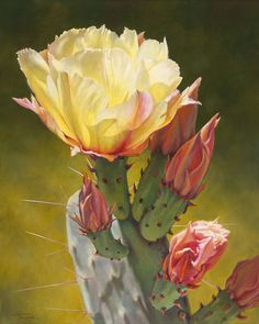 """""""Prickly Pear Luminescence IV"""" by Lauren Knode Oil ~ 40 x 32"""