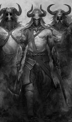 """In Norse mythology, the einherjar (Old Norse """"lone fighters"""") are those that have died in battle and are brought to Valhalla by valkyries. In Valhalla, the einherjar eat their fill of the nightly-resurrecting beast Sæhrímnir, and are brought their fill of mead (from the udder of the goat Heiðrún) by valkyries. The einherjar prepare daily for the events of Ragnarök, when they will advance for an immense battle at the field of Vígríðr."""