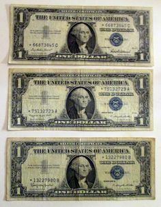 Three Silver Certificates, 1957 B, 1957 A and 1957, One Dollar Bills, Blue Seal, Blue Numbers, Star Notes. by Riverripples on Etsy