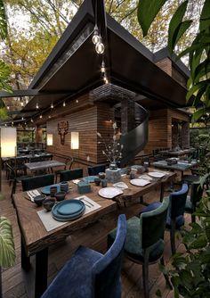 Outdoor Restaurant Design, Restaurant Kitchen Design, Cool Restaurant, House Restaurant, Restaurant Interior Design, Restaurant Ideas, Cafe Design, House Design, Forest Cafe