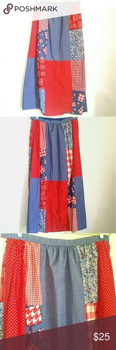 """Vtg. Patchwork Maxi Skirt Red, White & Blue This handmade, patriotic patchwork maxi skirt is a lovely July 4th piece! Perfect for country picnics or parades. Side zipper and hook & eye closure. 16"""" across, 28"""" across hips, 39.5"""" length. 1"""" deep hem. Handmade Skirts Maxi"""