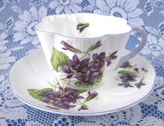 Shelley Dainty Violets Cup And Saucer English Bone China Lavender Trim