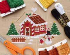 Christmas Gingerbread House Easy Beginners Cross Stitch Pattern PDF