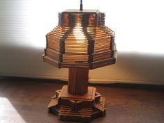 Vintage Tramp/Prison Art Popsicle Stick Lamp by StarlightMemories