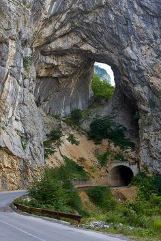 Road and tunnel in Piva Canyon, northern Montenegro