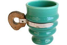 Wood-Handled Pottery Mug