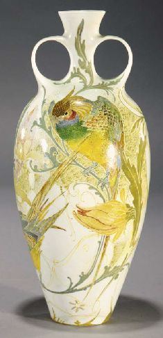 A Rozenburg hand-painted porcelain vase  printed and painted marks (damages) -- 34cm. high  |  SOLD $1,870