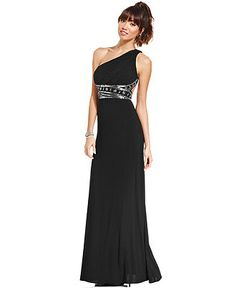 Hailey Logan by Adrianna Papell Juniors' One-Shoulder Back-Cutout Gown - Juniors Dresses - Macy's