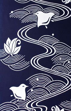 「青海波に流水千鳥」 | 浴衣地カスタムメード | Shop Japanese Textiles, Japanese Patterns, Japanese Fabric, Japanese Prints, Japanese Art, Japanese Kimono, Japanese Waves, Japanese Aesthetic, Japan Design