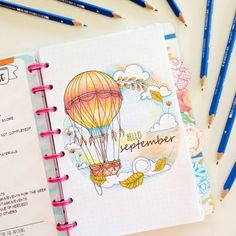 40 September Bullet Journal Cover Pages to Inspire You - - It's time to start planning our September Bullet Journal pages! From cute hedgehogs to hot air balloons there's a cover page here to inspire you! Bullet Journal Cover Page, Bullet Journal Themes, Bullet Journal Spread, Bullet Journal Layout, Journal Covers, Bullet Journal Inspiration, Journal Pages, Journal Ideas, Bullet Journals