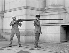 Punt guns were used for duck hunting at the turn of the last century. A single shot could kill up to 50 waterfowl resting on the surface of a pond or lake. ca 1900.
