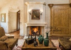 Antique French Limestone Fireplace by Ancient Surfaces.  http://www.ancientsurfaces.com/Antique-Fireplaces.html