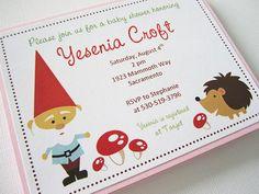 Gnome Woodland Baby Shower Printed Invitation  Set by adorebynat, $12.00