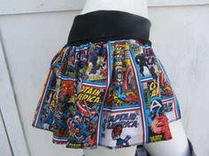 Captain America retro Comic Book Skirt shirt S-1XL bts geek derby Marvel Avenger