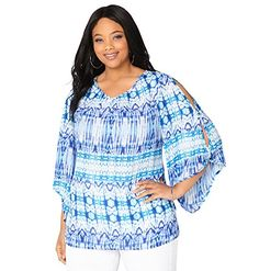 2e697353f33 AVENUE Womens Tie Dye Cold Shoulder Tunic 1820 Blue Print   Want to know  more
