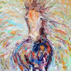 Large Original oil painting Wild Horse Run Palette knife modern impressionism impasto fine art by Karen Tarlton