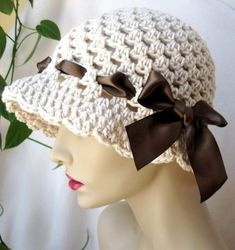 Cotton Women Cloche, Brown Satin Ribbon Bow, Oatmeal Off White, Birthday Gifts… Hand Crochet, Knit Crochet, Crochet Hats, Chrochet, Sombrero A Crochet, Crochet Summer Hats, Stylish Hats, Ribbon Bows, Sun Hats