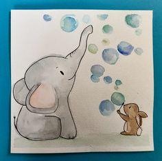 Ein Bild für's Kinderzimmer. #elefantes #hase #seifenblasen #bilder #aquarell #kinderzeichnung #kinderzimmerdeko #diy  #geschenkzurgeburt #wasserfarben Baby Zimmer, Pun Card, Baby Room Art, Brush Pen, Wands, Watercolor Art, Art Projects, Arts And Crafts, Artsy