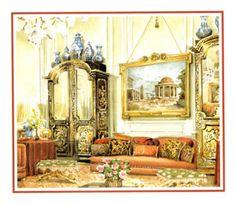 Paris drawing room by Renzo Mongiardino: Watercolor by Mark Hampton
