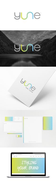 Introducing a brand styling agency. The word Yune is of an existing valley located at Hadramaut, Yemen. To that reason the U and N are attached forming the river flow in the valley.   The brand targets young entrepreneurs that run small businesses from home or online, in developing their corporate identity.