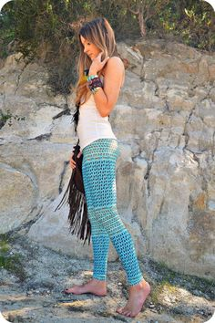 sea gypsy yoga leggings by purushapeople on Etsy, $98.00