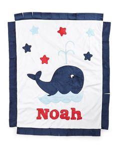 Z1H6T Boogie Baby Plush Whale Blanket, White/Navy
