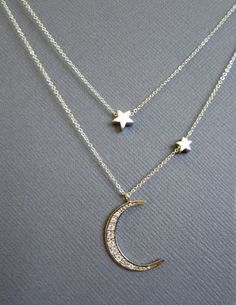 silver and gold moon necklace - Google Search