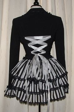 corset coat black white stripe bustle fantasy goth coat burlesque steam punk US sizes 8 10 12 14 on Etsy, $90.00