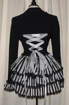 Coat Jacket Black & White Corset Bustle Gothic Burlesque