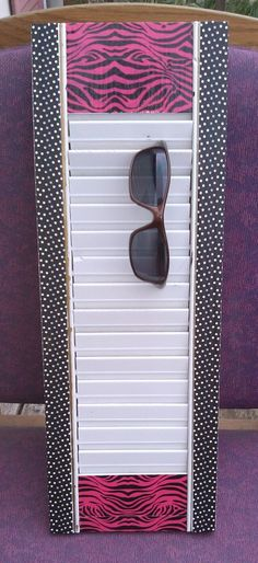 Sunglass Holder from window shutter. (I'd have a plain white no decorative tape)