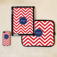 3 Piece Set of Chevron Personalized iPhone & iPad Accessories available in 8 colors #iphone, ipad gift idea