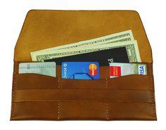 Brown Leather Travel Passport Wallet w Card Slots Passport Cash Pocket-SR