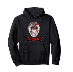 Friday Scary Jason Mask Pullover Hoodie by Scar Design. Click and Buy yours from on store. Great present for all Slasher Movies fans. Cool Tee Shirts, Cool Hoodies, Cool Tees, Slasher Movies, Horror Movies, Halloween Gifts, Halloween Horror, Personalized T Shirts, Casual Elegance