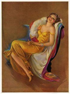 1930s Jules Erbit Print Lovelorn Pin-Up Girl Writes In Diary Happy Memories Rare #ArtDeco
