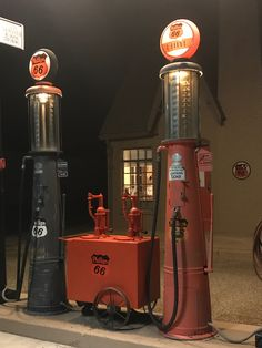 G&B visible gas pumps abd double lubester at Goldsby's restored 1929 Phillips 66 gas station in Turkey, TX