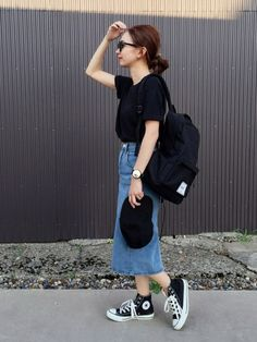 mao♡さんの「Ray-Ban RB2180F サングラス RB2180F49601/71(Ray-Ban)」を使ったコーディネート デニムスカート outfit denim skirt coordinate #ootd styling style