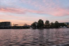 Amsterdam sunset by the river.