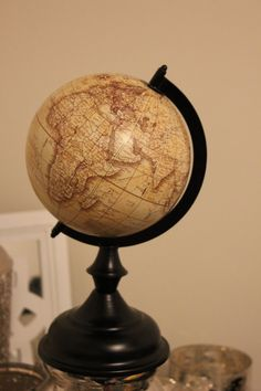 VINTAGE STYLE World Globe Beige Cream Original Travel Wedding Centerpiece Table Numbers Room Decor Airplane Plane Old World Rustic Map Dorm