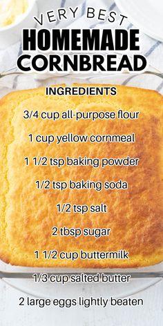 Southern Cornbread Recipe, Jiffy Cornbread, Homemade Cornbread, Bread Recipes, Baking Recipes, Best Casseroles, Corn Bread, Crusts, Cockatoo