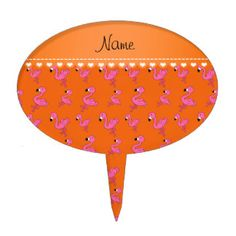 Personalize name orange pink flamingos cake pick