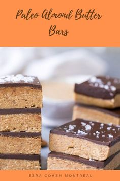 These almond butter bars are a perfect treat to help you stick to you paleo diet. Try our easy no-bake recipe using all-natural Ezra Cohen Montreal almond butter for tasty breakfast, snack, or dessert. Butter Bar, Nut Butter, Almond Butter, Almond Flour, Almond Bars, Easy Baking Recipes, Dark Chocolate Chips, Healthy Treats, Recipe Using