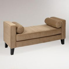 Coffee Velvet Taylor Bench with Bolsters. This might work in the living room; it could also be nice at the foot of the bed in the MBR. World Market. $299