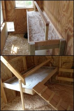 Clean chicken droppings with ease by building a chicken roost with poop board! Clean chicken droppings with ease by building a chicken roost with poop board! Chicken Roost, Chicken Barn, Chicken Coup, Best Chicken Coop, Backyard Chicken Coops, Chicken Coop Plans, Building A Chicken Coop, Chickens Backyard, Chicken Houses