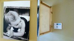 If you hate looking at your alarm panel or another thin panel that hangs on your wall you can attach a painting or photo canvas with a hinge to keep the panel out of sight.