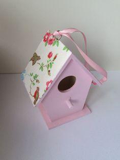 Decoupage Pale Pink Cath Kidston bird house - Shabby chic  Decoration - Shabby Chic Spring summer gift - Garden