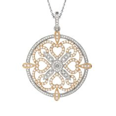 Unity- Rose and white gold pendant. 1.91ct of diamonds.