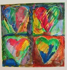 Ms Maggie Mo's Jim Dine hearts: crayon resist with watercolors!